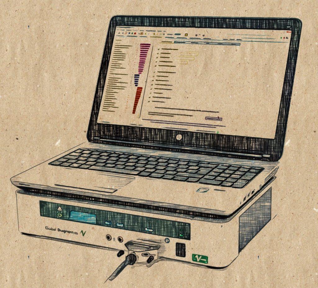 Vitalfeld mit Laptop